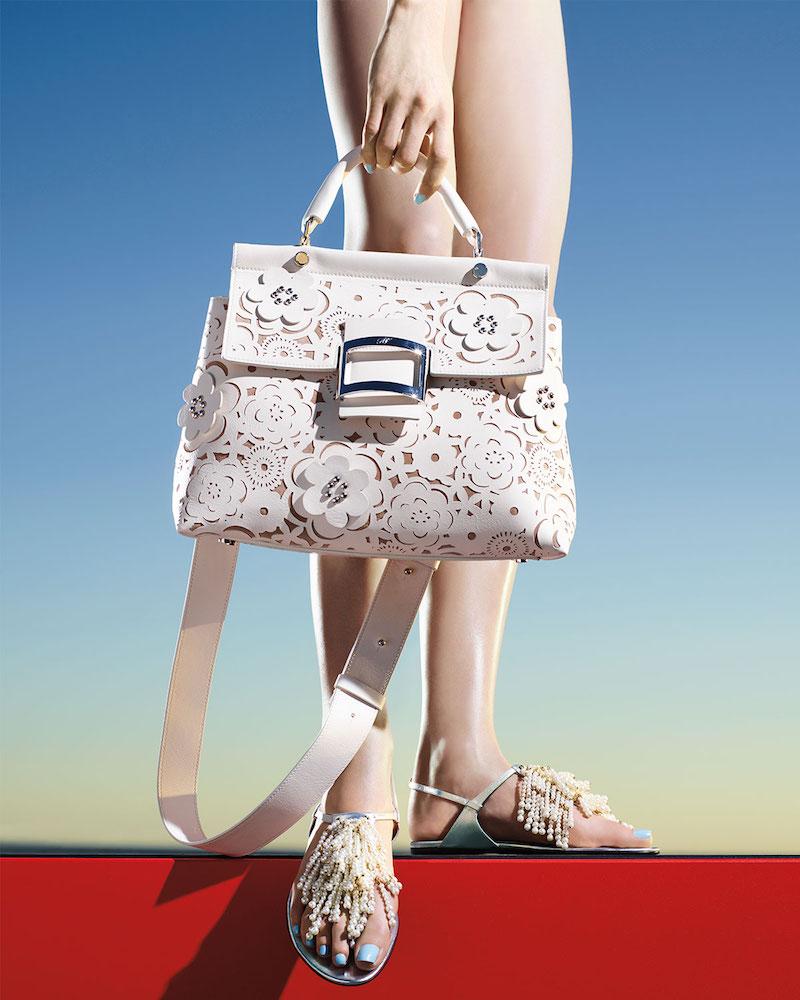 Roger Vivier Viv Cabas Small Floral Top-Handle Satchel Bag