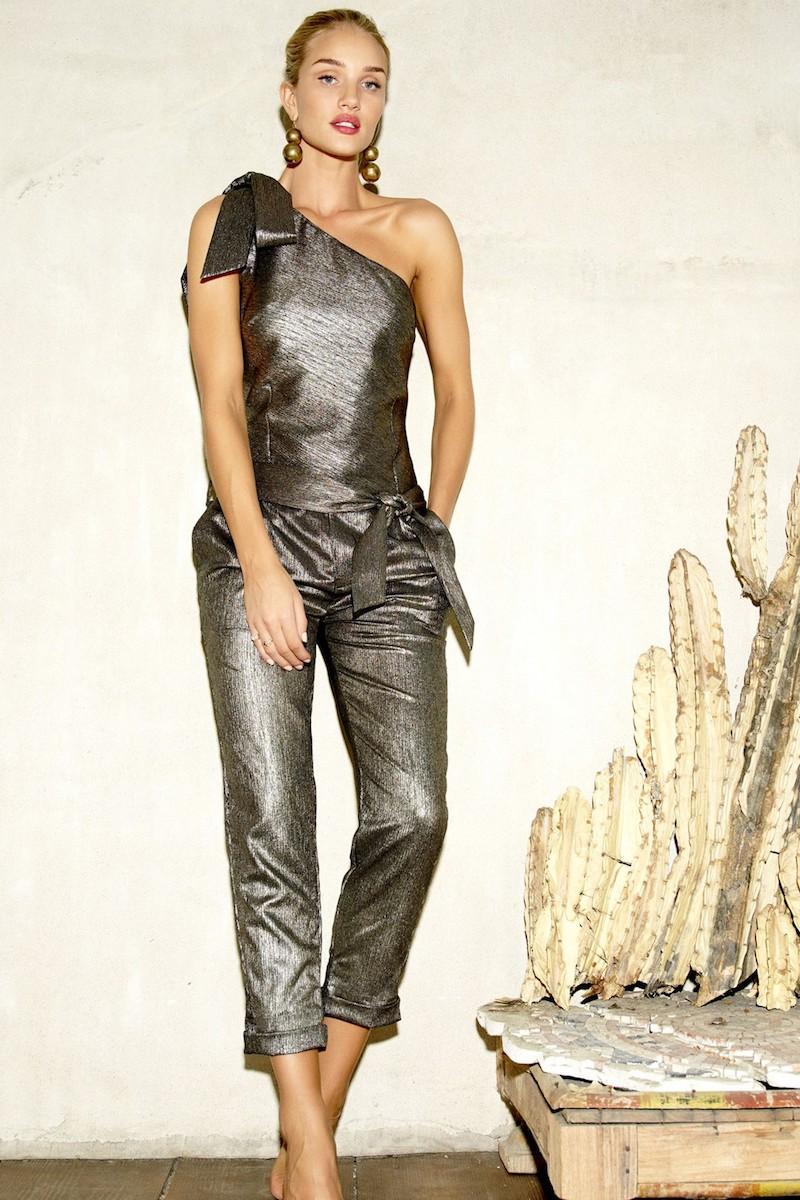 Rosie HW x PAIGE Maisie Metallic One-Shoulder Jumpsuit