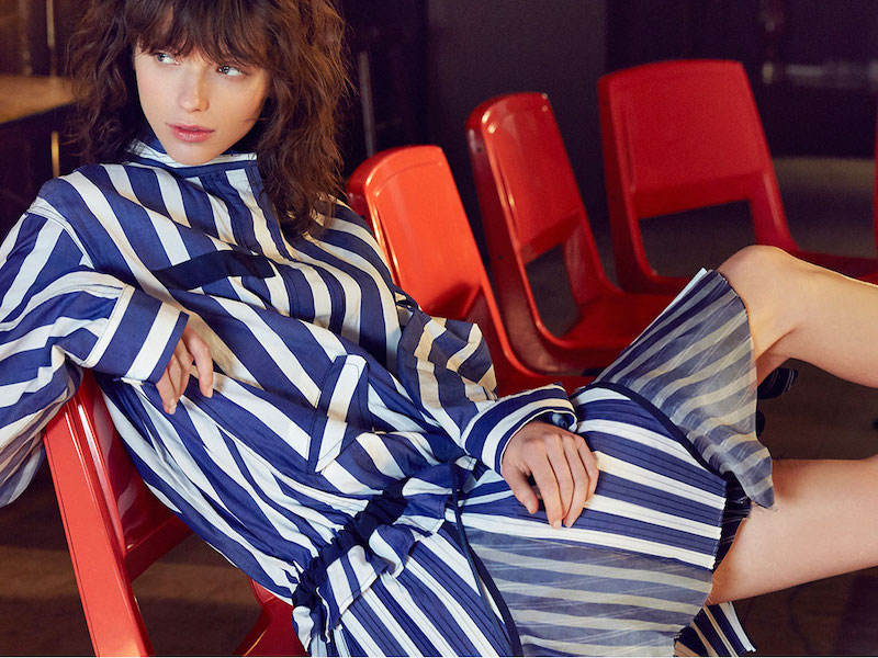 Sacai Striped Drop-Waist Dress