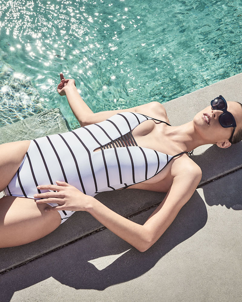 Seafolly Castaway Plunging Halter Striped Maillot