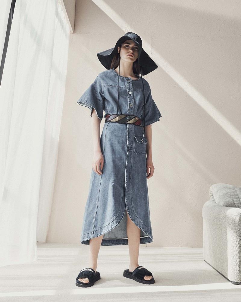 See By Chloé Curved-hem stretch-denim skirt