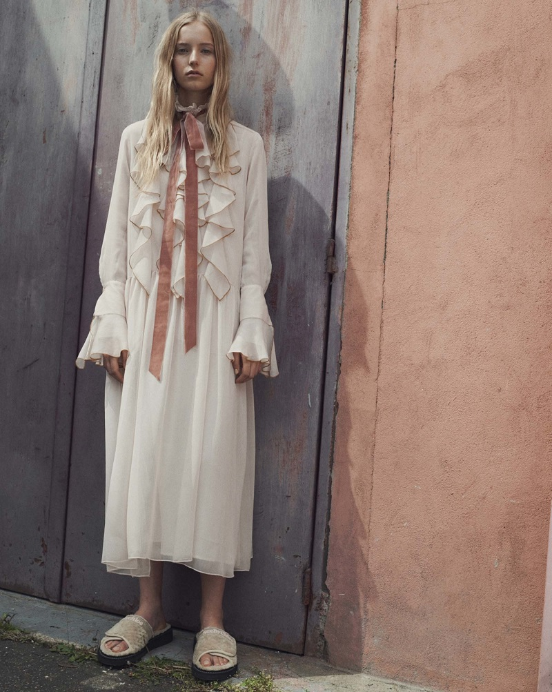 See By Chloé Ruffle-trimmed crépon maxi dress