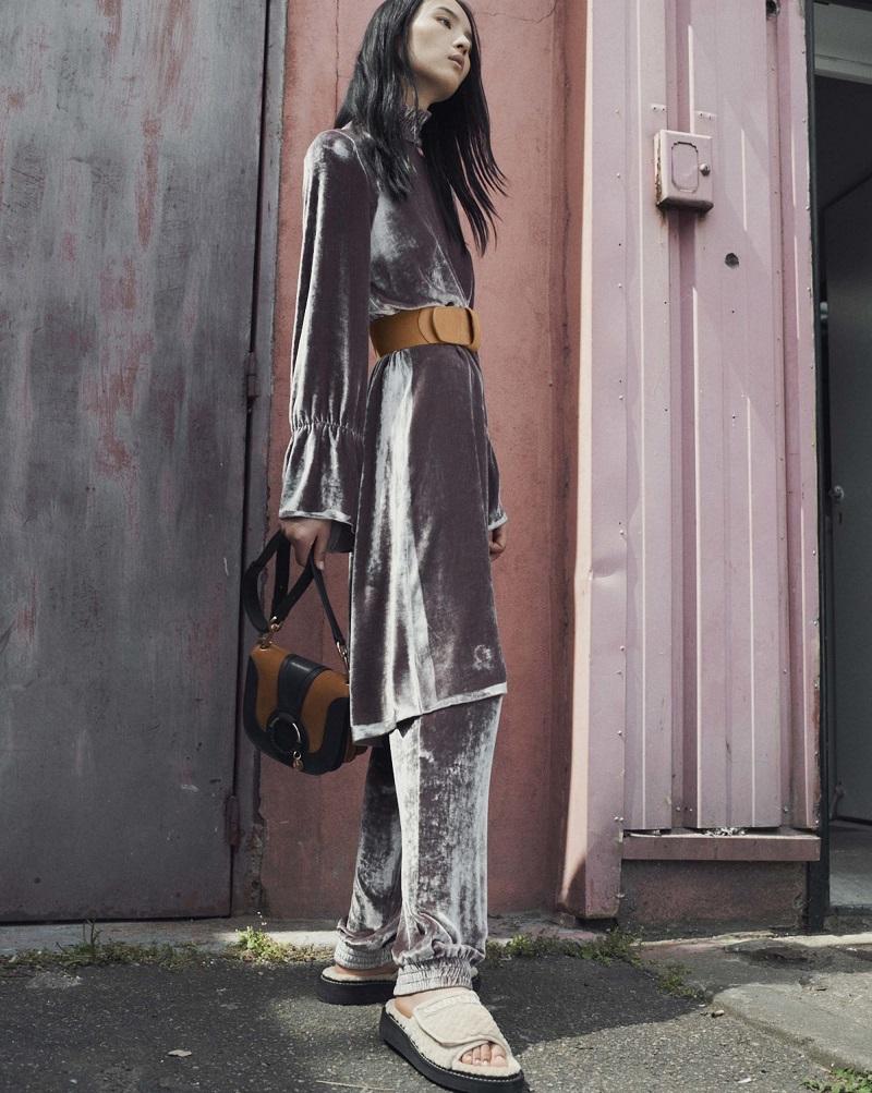 See By Chloé Smocked high-neck velvet dress