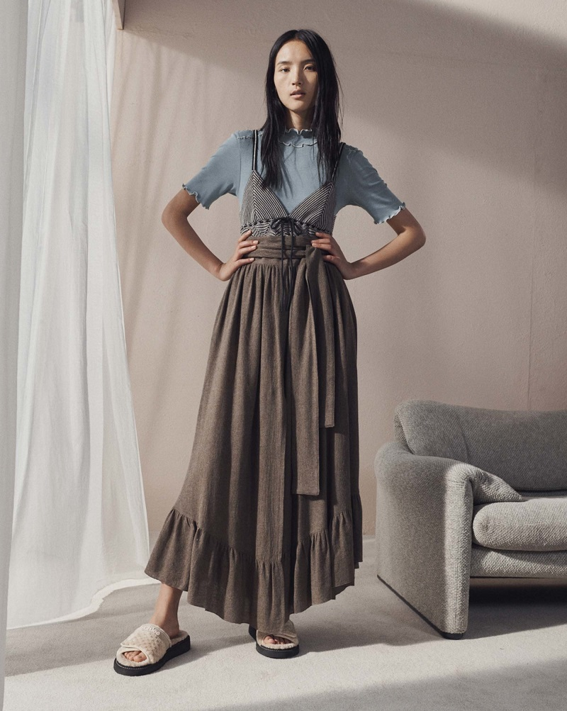 See By Chloé Waist-tie gathered gauze maxi skirt