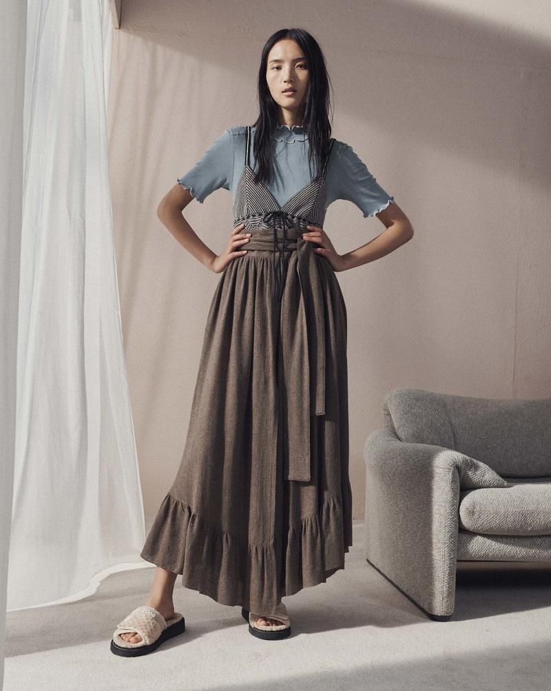 See By Chloé Waist-tie gathered gauze maxi skirt