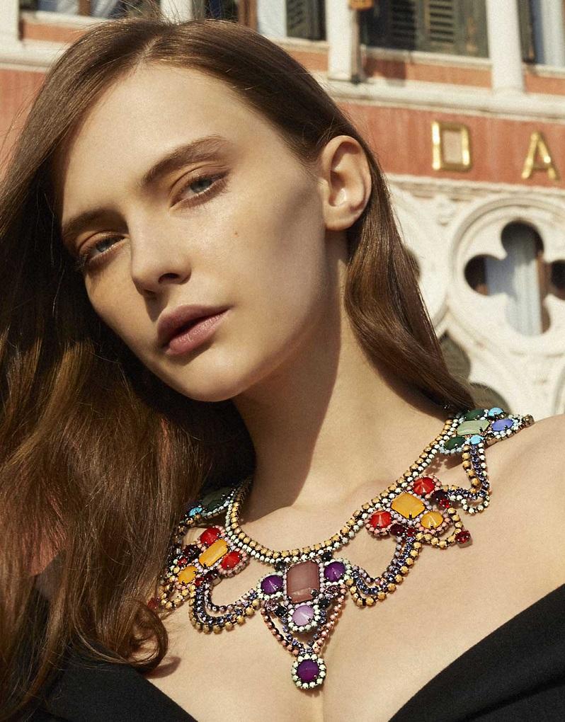 Sharra Pagano Multicolor Crystal Bib Necklace