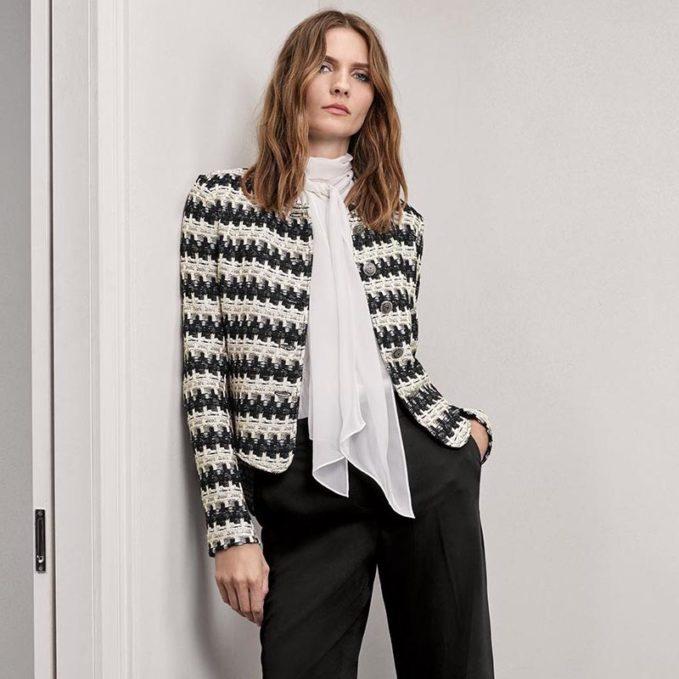 St. John Collection Advik Tweed Mandarin-Collar Jacket