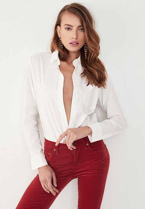 T by Alexander Wang Long Sleeve Shirt Bodysuit