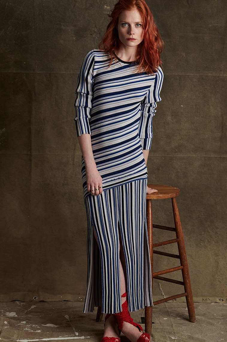 Tabula Rasa Theia long-sleeved striped dress