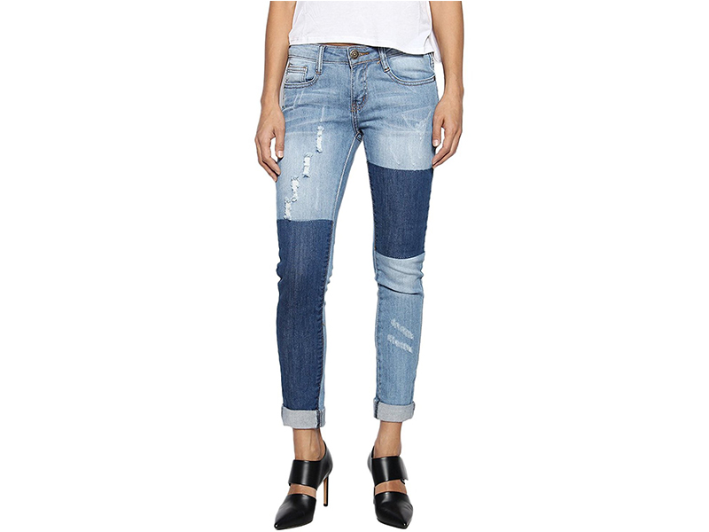 TheMogan Two Tone Block Wash Distressed Ripped Destroyed Skinny Jeans