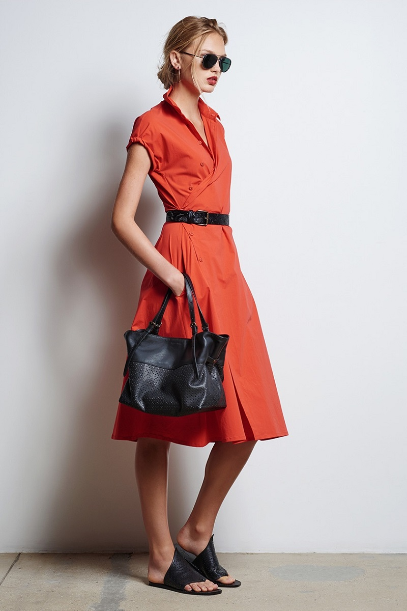 Tomas Maier Asymmetric cotton-blend poplin shirtdress