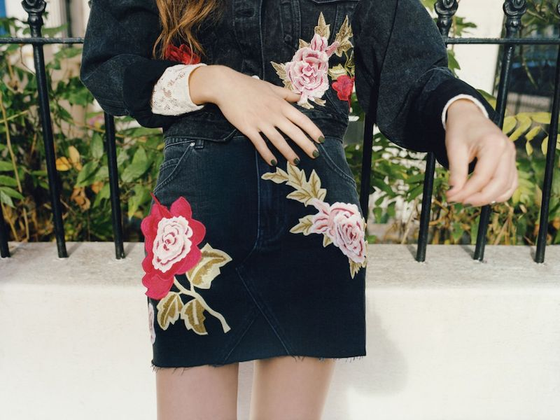 Topshop MOTO Rose Denim Skirt