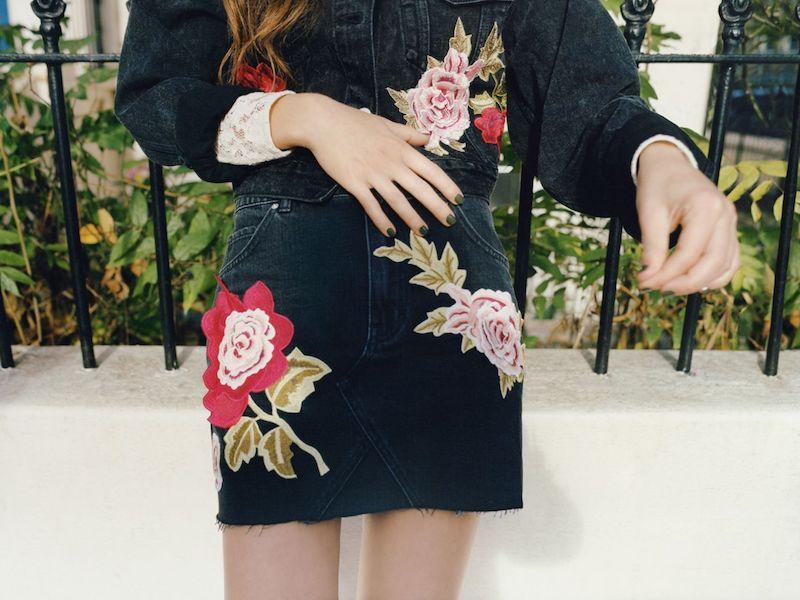 Topshop MOTO Rose Denim Skirt