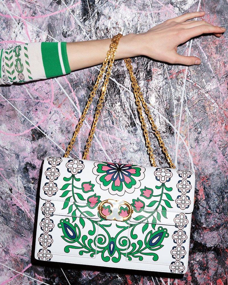 Tory Burch Gemini Link Garden-Print Chain Shoulder Bag