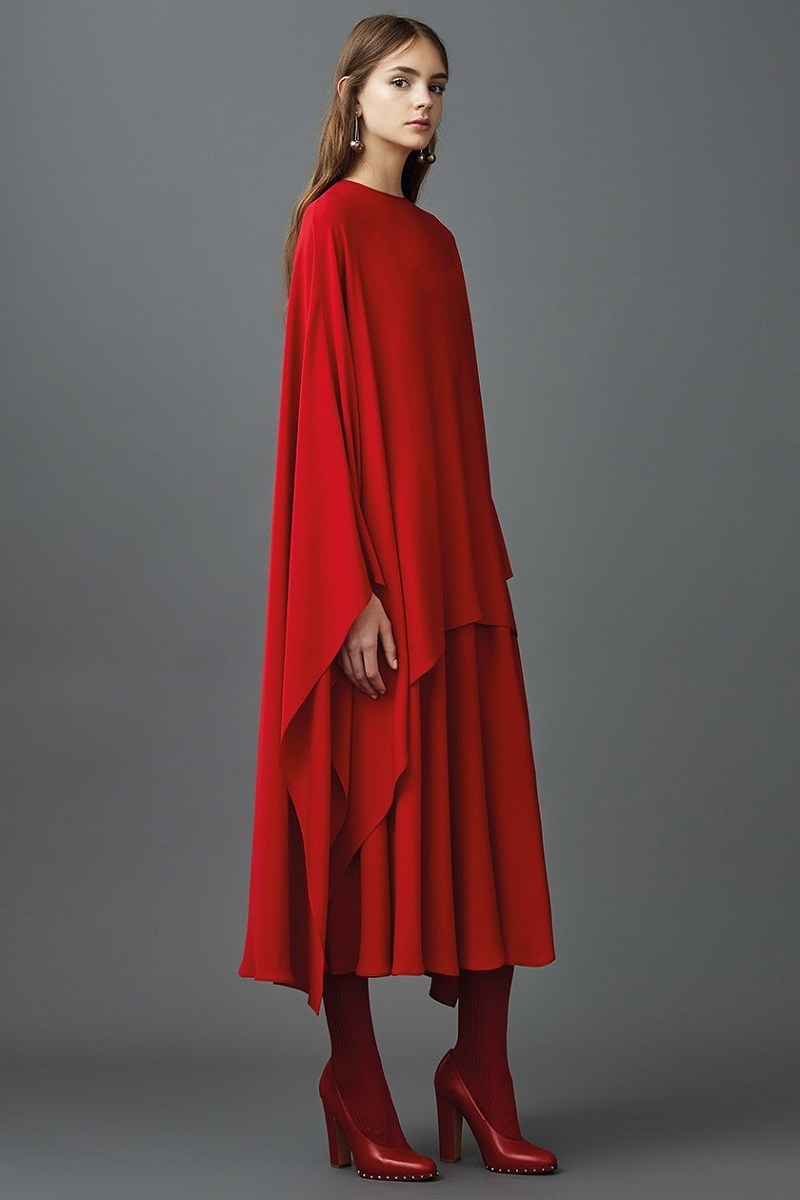 Valentino Detachable-cape silk-crepe dress