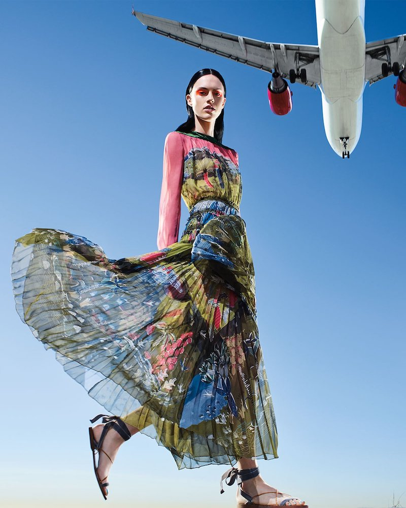 Valentino Garden of Delight Printed Long-Sleeve Gown