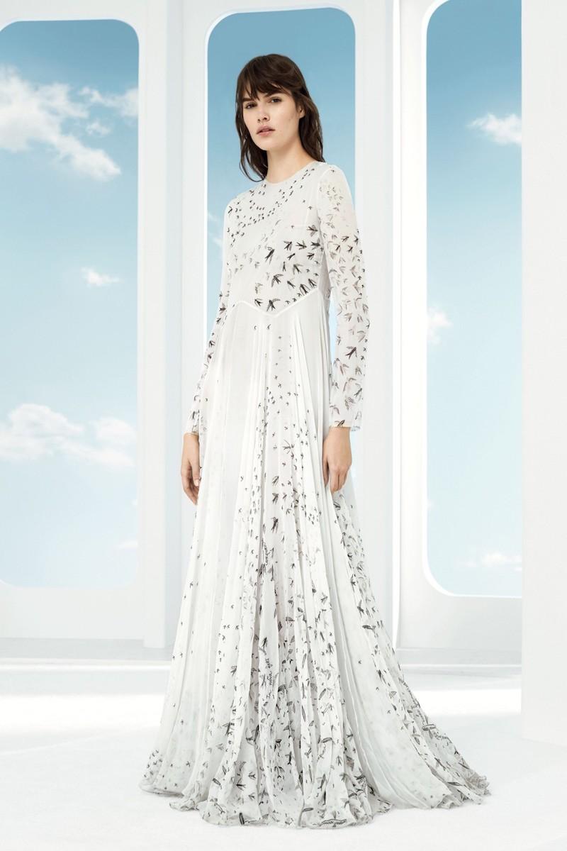 Valentino Swallow Print Silk Gown