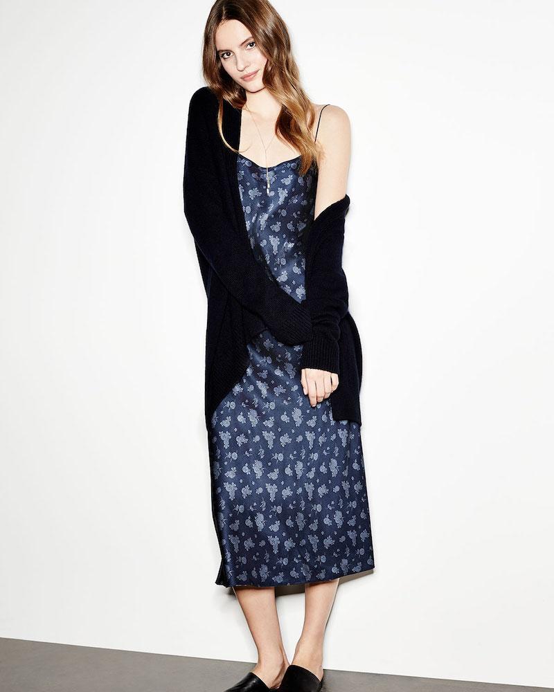 Vince Calico Floral Silk Satin Midi-Length Slip Dress