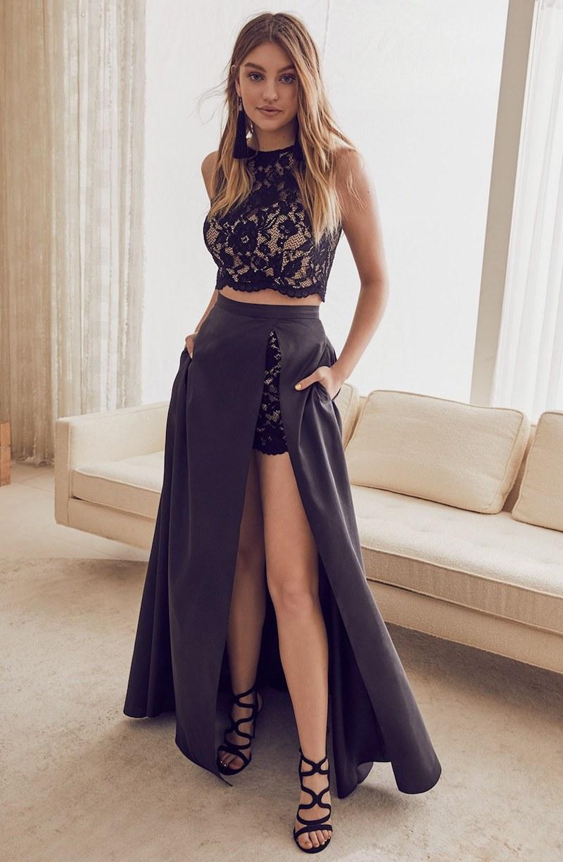 Xscape Lace & Taffeta Two-Piece Gown