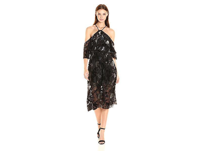 ABS Allen Schwartz Shoulder Baring Mid-Length Dress in Floral Velvet Burn-Out