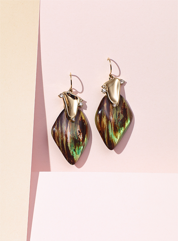 Alexis Bittar Wood Grain Wire with Satellite Crystal Detail Drop Earrings