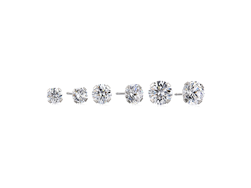 Amazon Collection 10k Gold Swarovski Zirconia Three Stud Earrings Set