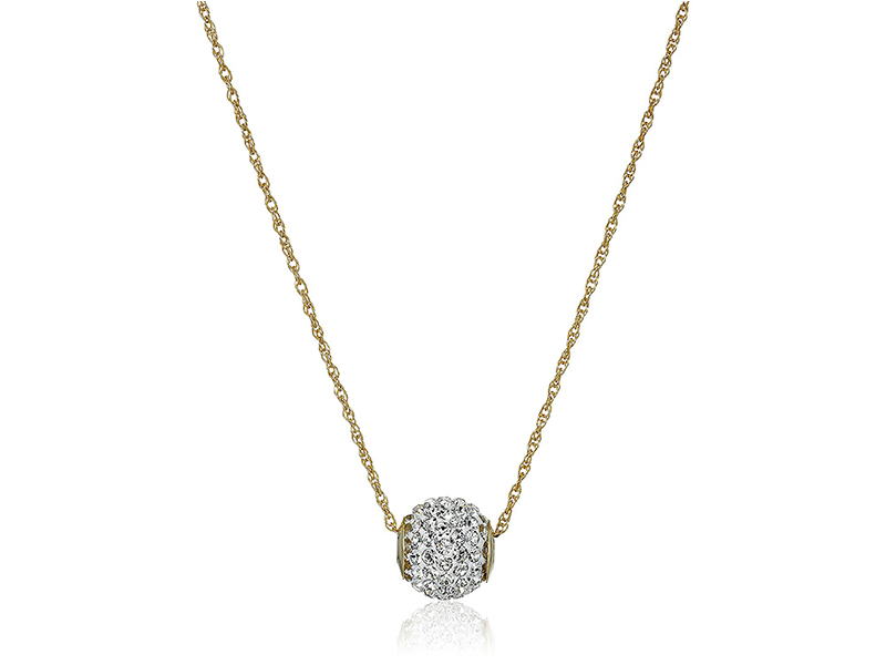 Amazon Collection 10k Swarovski Crystal Slide Ball Pendant Necklace
