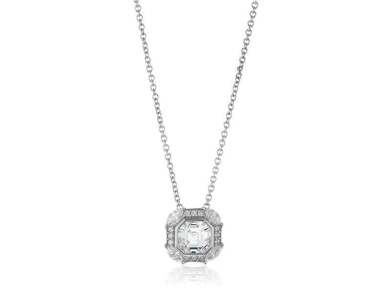 "Amazon Collection Platinum-Plated Sterling Silver Swarovski Zirconia Celebrity ""Pippa"" Asscher Cut Antique Pendant Necklace"