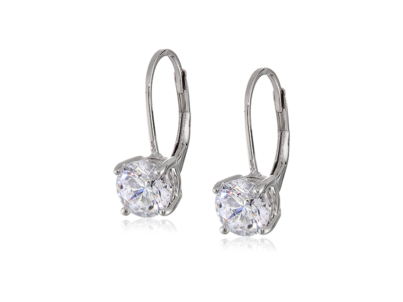 Amazon Collection Platinum-Plated Sterling Silver Swarovski Zirconia Leverback Earrings