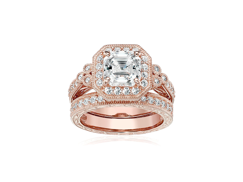 Amazon Collection Platinum or Gold Plated Sterling Silver Asscher-Cut Swarovski Zirconia Antique Ring Set