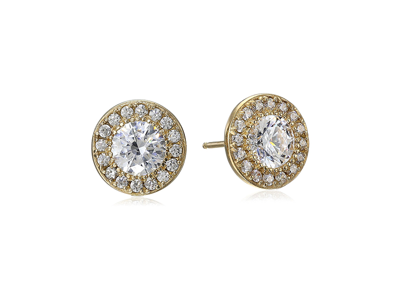 Amazon Collection Platinum or Gold-Plated Sterling Silver Swarovski Zirconia Round-Cut Halo Stud Earrings