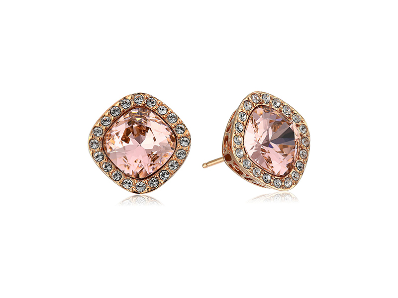 Amazon Collection Sterling Silver Swarovski Elements Crystal Morganite Cushion-Cut Halo Stud Earrings