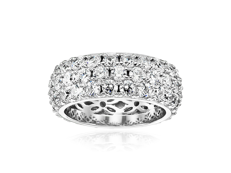 Amazon Collection Swarovski Zirconia 3 Row Pave Round Cut Ring