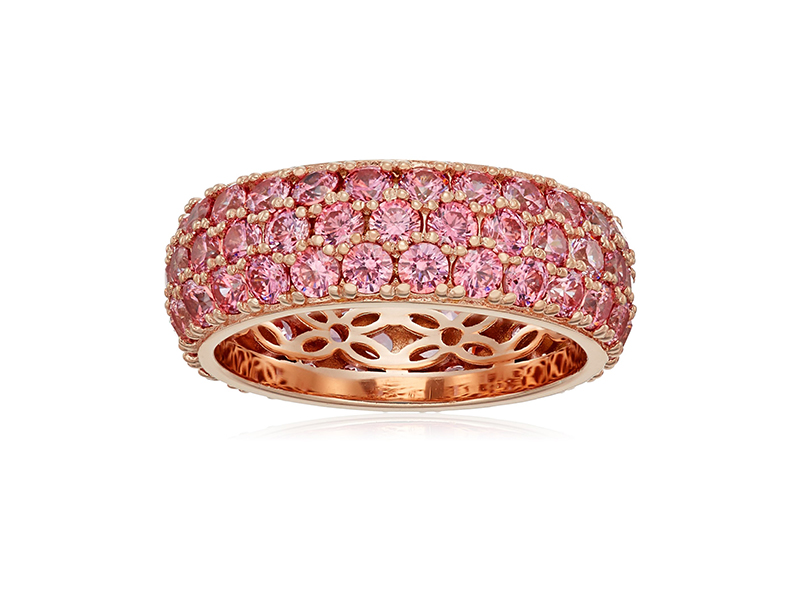 Amazon Collection Yellow Gold-Plated Sterling Silver Swarovski Zirconia Three-Row Pave Round Cut Ring