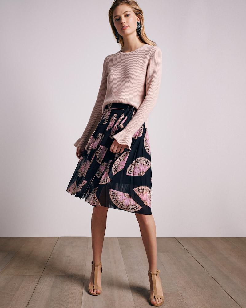 Ann Taylor Fan Floral Side Tie Pleated Skirt