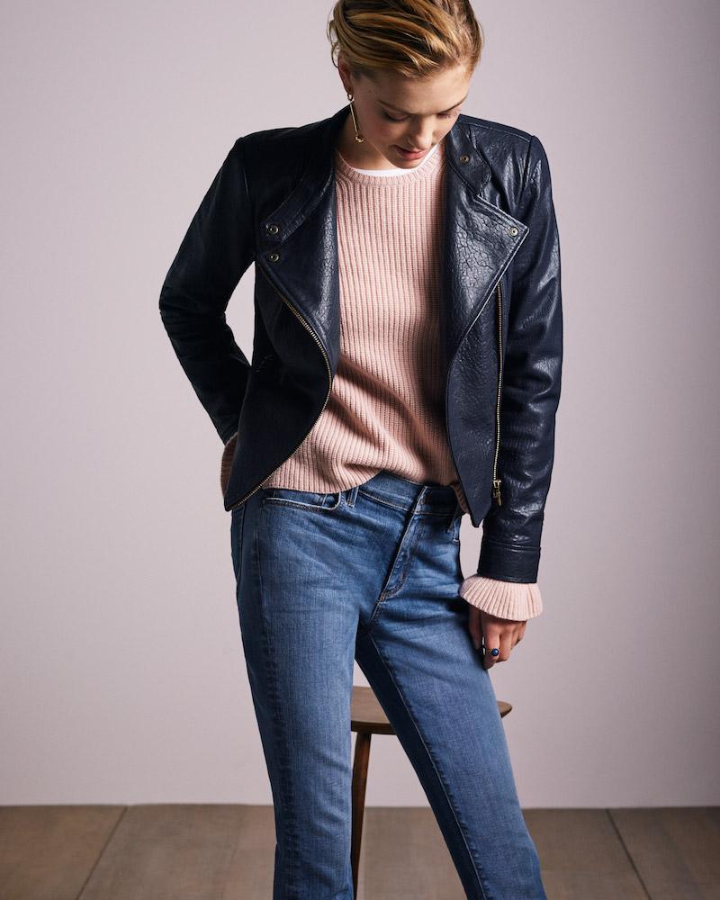 Ann Taylor Leather Flounce Moto Jacket