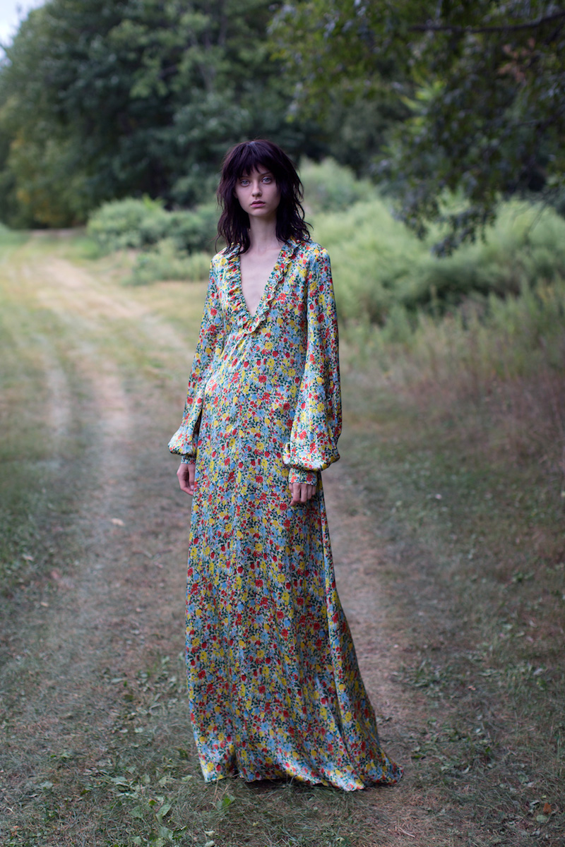 BY. Bonnie Young Floral Silk Ruffle Maxi Dress
