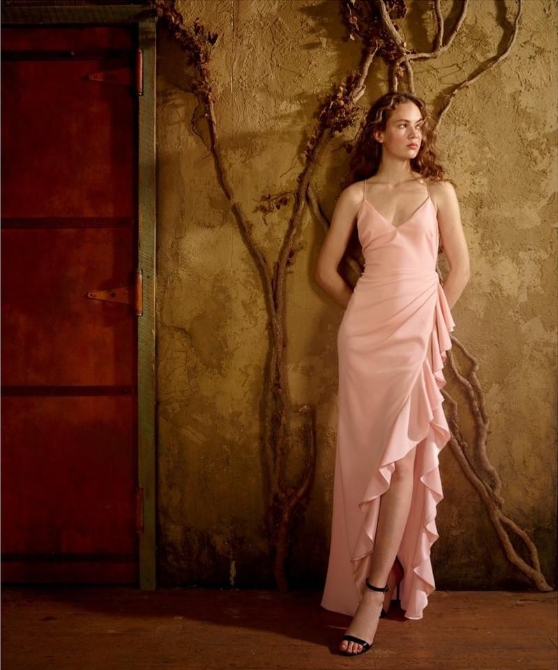 Badgley Mischka Ruffled Column Gown