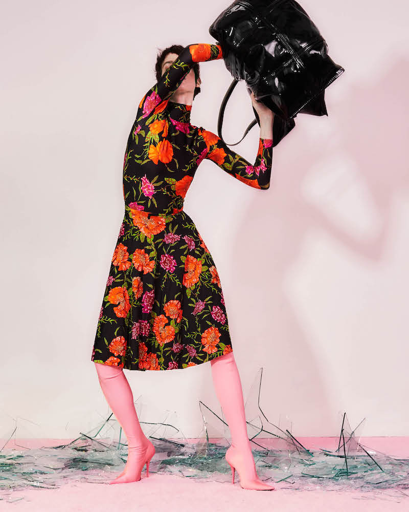 Balenciaga Beaded Tech-Jersey A-Line Dress