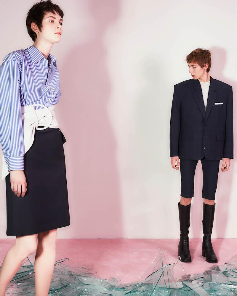 Balenciaga Pinched-Collar Striped Poplin Blouse