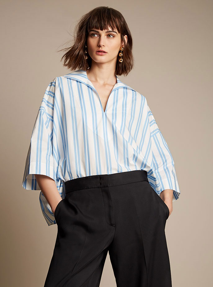 Balenciaga Striped V-neck cotton blouse