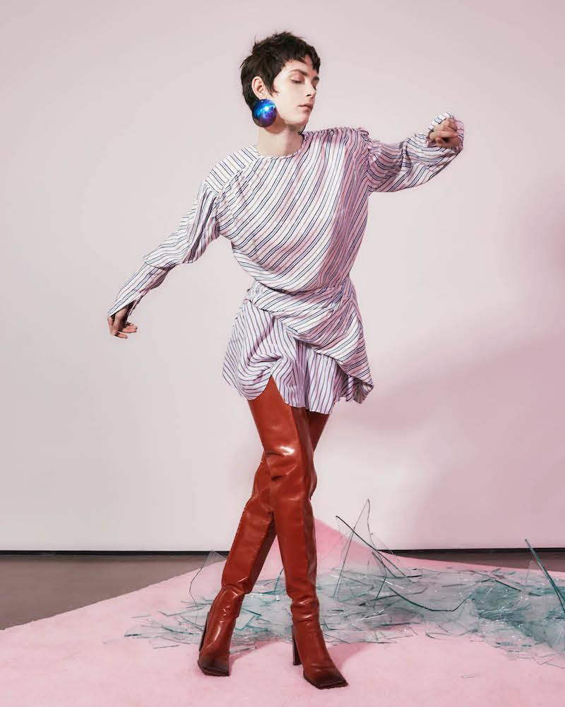Balenciaga Uplift Star Jacquard & Striped Dress