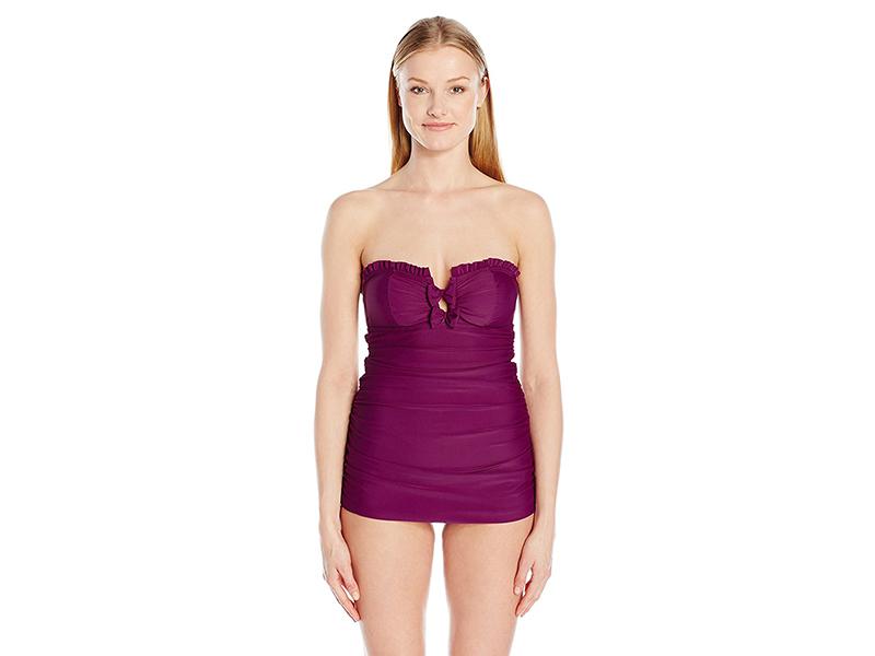 Betsey Johnson Swimwear Malibu Solids Swimdress One Piece Swimsuit