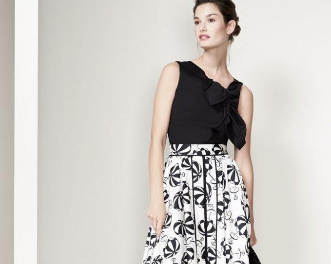 Carolina Herrera Café Umbrella Midi Skirt