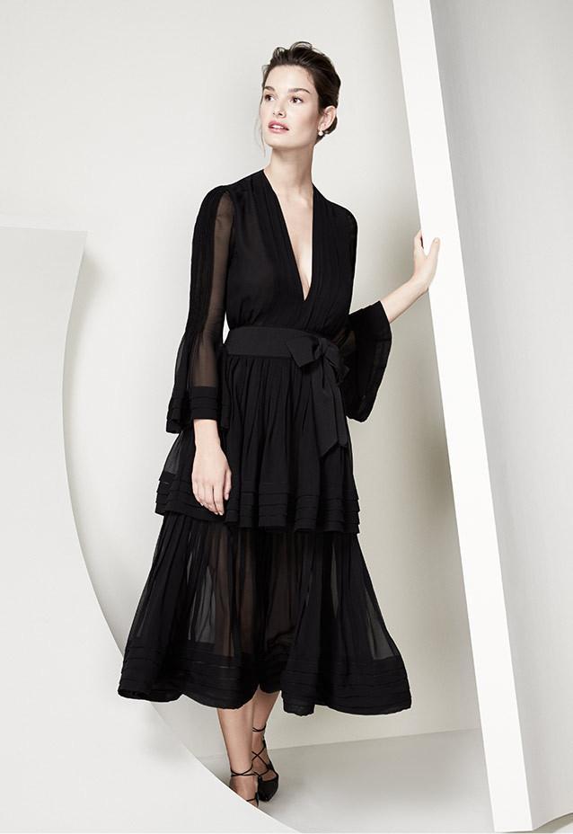 Carolina Herrera Deep-V Long-Sleeve Silk Dress