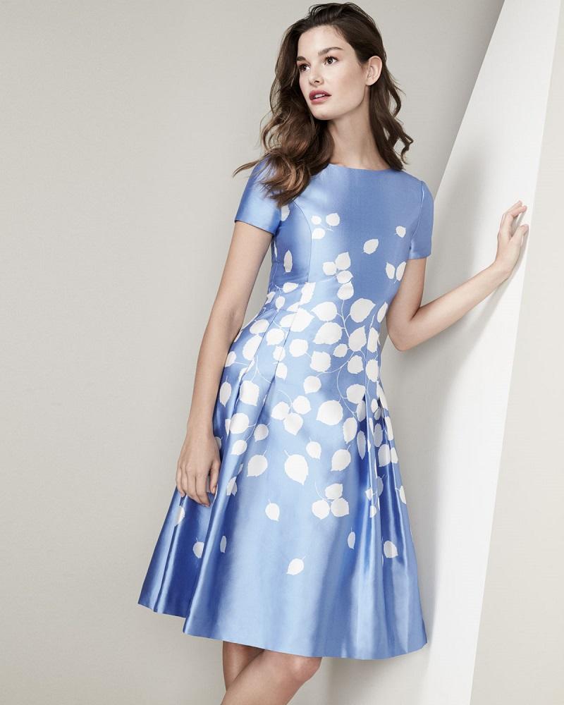 Carolina Herrera Leaf-Print Short-Sleeve A-Line Dress