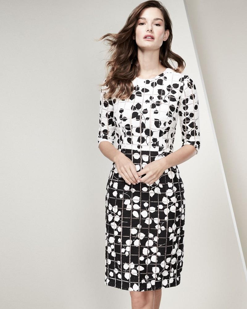 Carolina Herrera Leaf-Print Tweed Half-Sleeve Dress