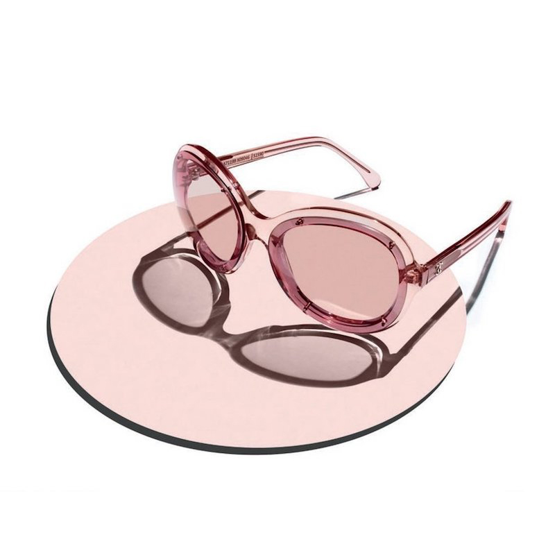 Chanel Pink Acetate Sunglasses with Pink Lenses