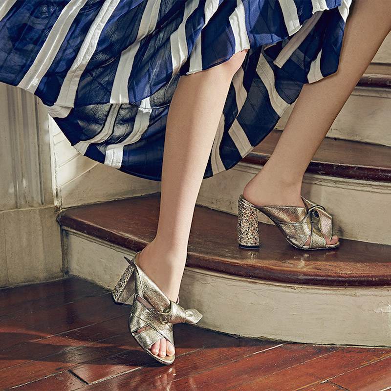 Chloé Nellie Bow Metallic Leather & Crystal Block Heel Slides