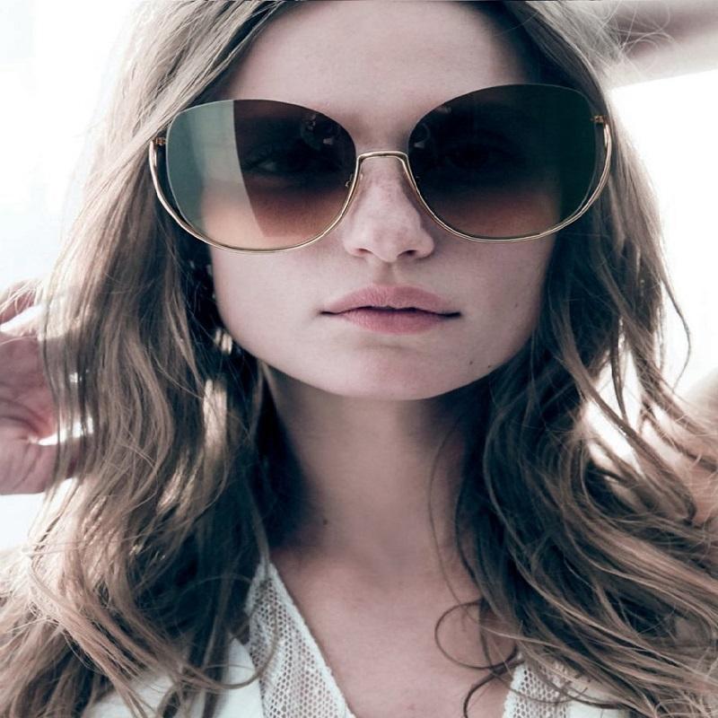 Chloe Milla Square Semi-Rimless Sunglasses